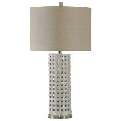 33 in. White Glaze Table Lamp with Beige Hardback Fabric Shade