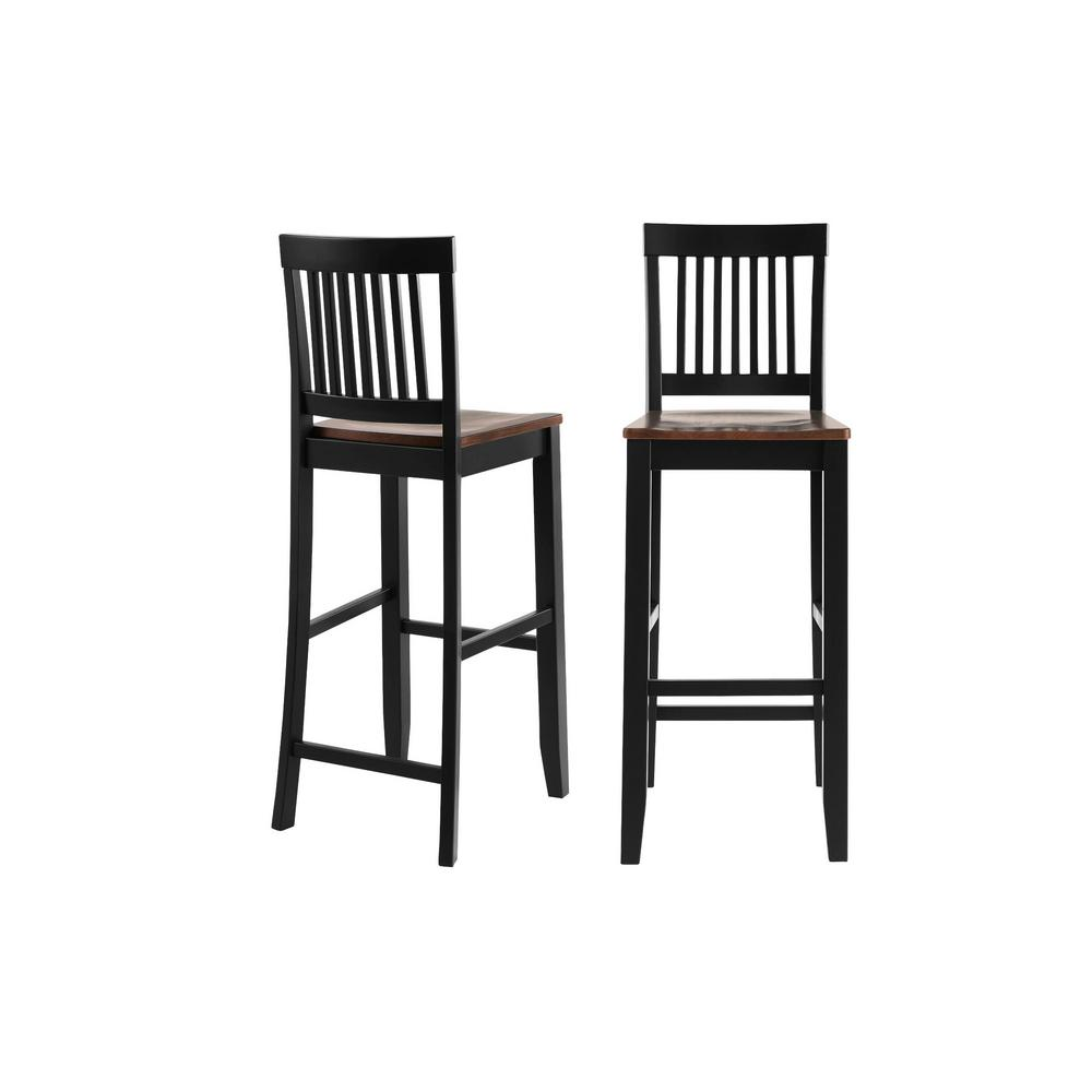 StyleWell Scottsbury Black Wood Bar Stool with Slat Back and Walnut Seat (Set of 2) (19.14 in. W x 44.52 in. H), Black/Walnut was $179.0 now $107.4 (40.0% off)