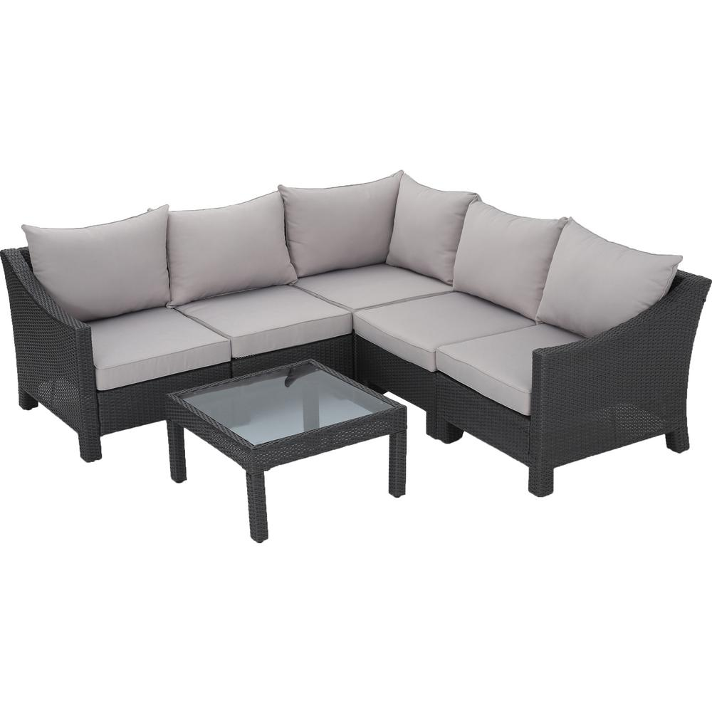 Noble House Antibes Grey 6-Piece Wicker Outdoor Sectional Set with Silver  Cushions