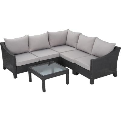 Antibes Grey 6-Piece Wicker Outdoor Sectional Set with Silver Cushions