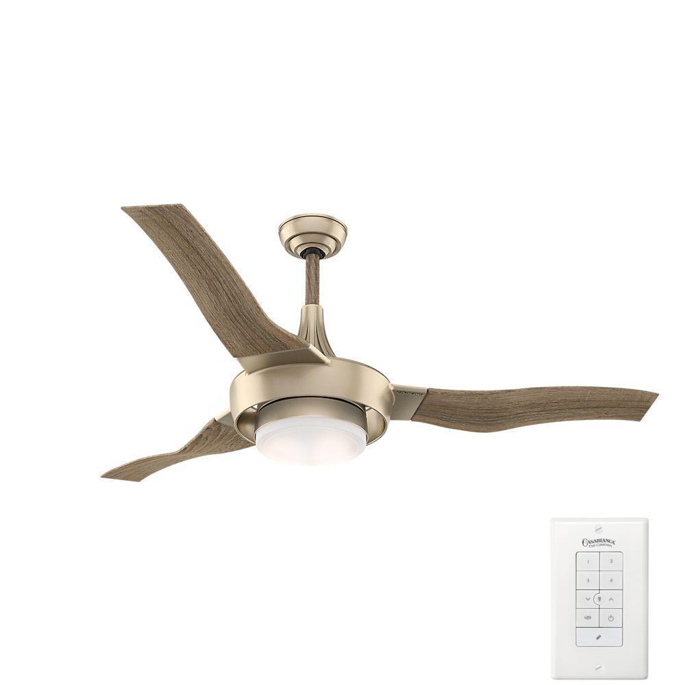 Perseus 64 in. LED Indoor/Outdoor Metallic Sunsand Ceiling Fan