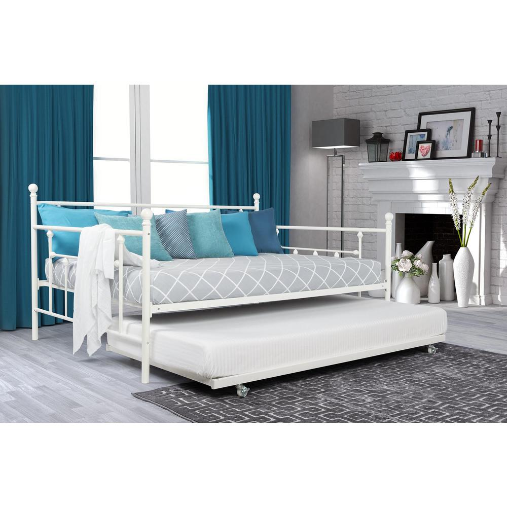 DHP Manila White Trundle Day Bed-4024159 - The Home Depot