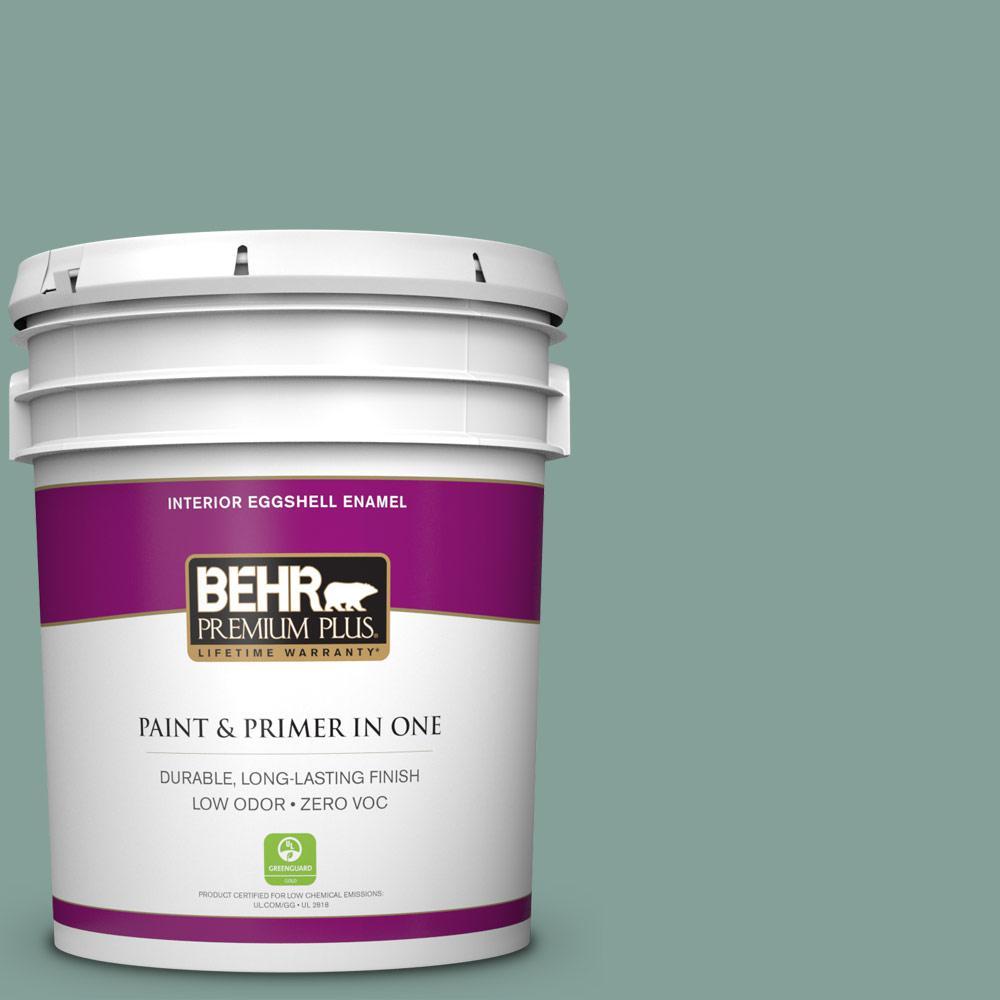 BEHR Premium Plus 5-gal. #480F-4 Mermaid Net Zero VOC Eggshell Enamel Interior Paint