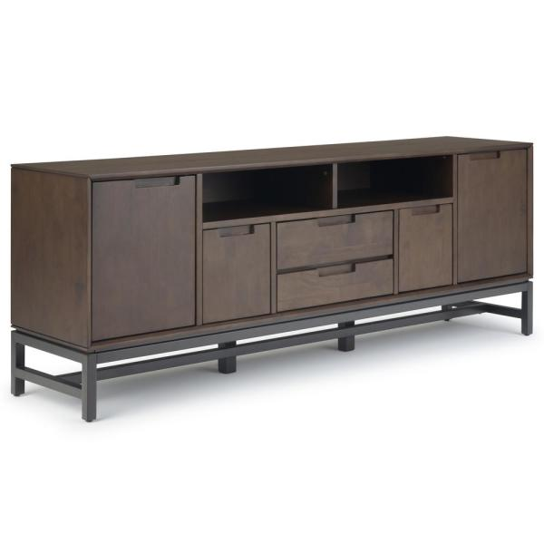 Banting Solid Hardwood And Metal 72 In Wide Modern Entertainment Tv Stand Walnut Brown For Tvs Upto 80 By Simpli Home
