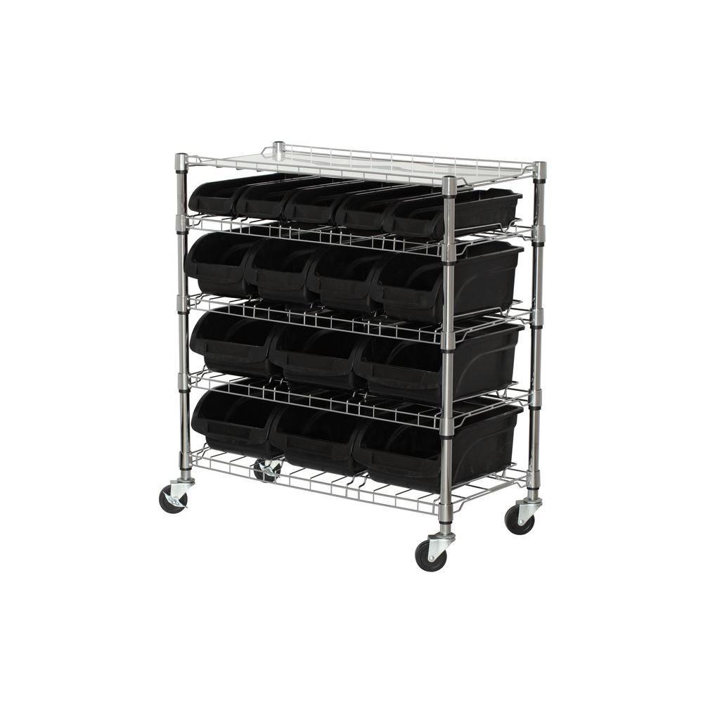 38 in. H x 33 in. W x 17 in. D 5 Shelf Mobile Bin Shelving Unit in Chrome/Black