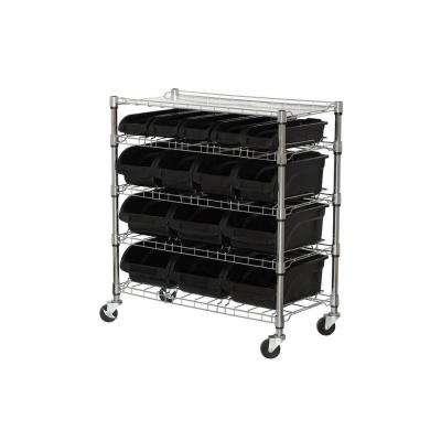38 in. H x 33 in. W x 16.5 in. D 5-Shelf Mobile Bin Shelving Unit in Chrome/Black