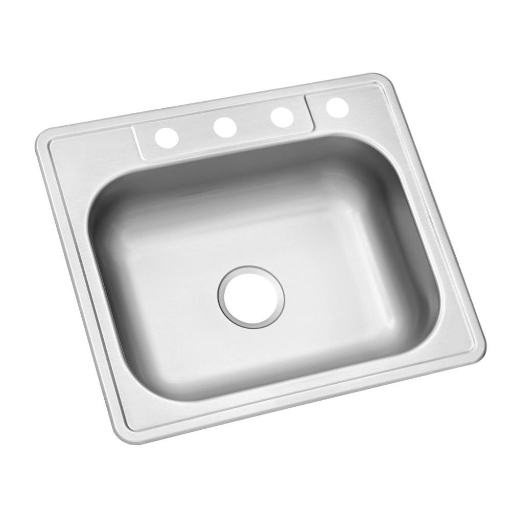 Drop In Stainless Steel 25 4 Hole Single Bowl Kitchen Sink