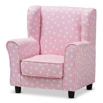 Selina Pink and White Heart Patterned Fabric Kids Armchair