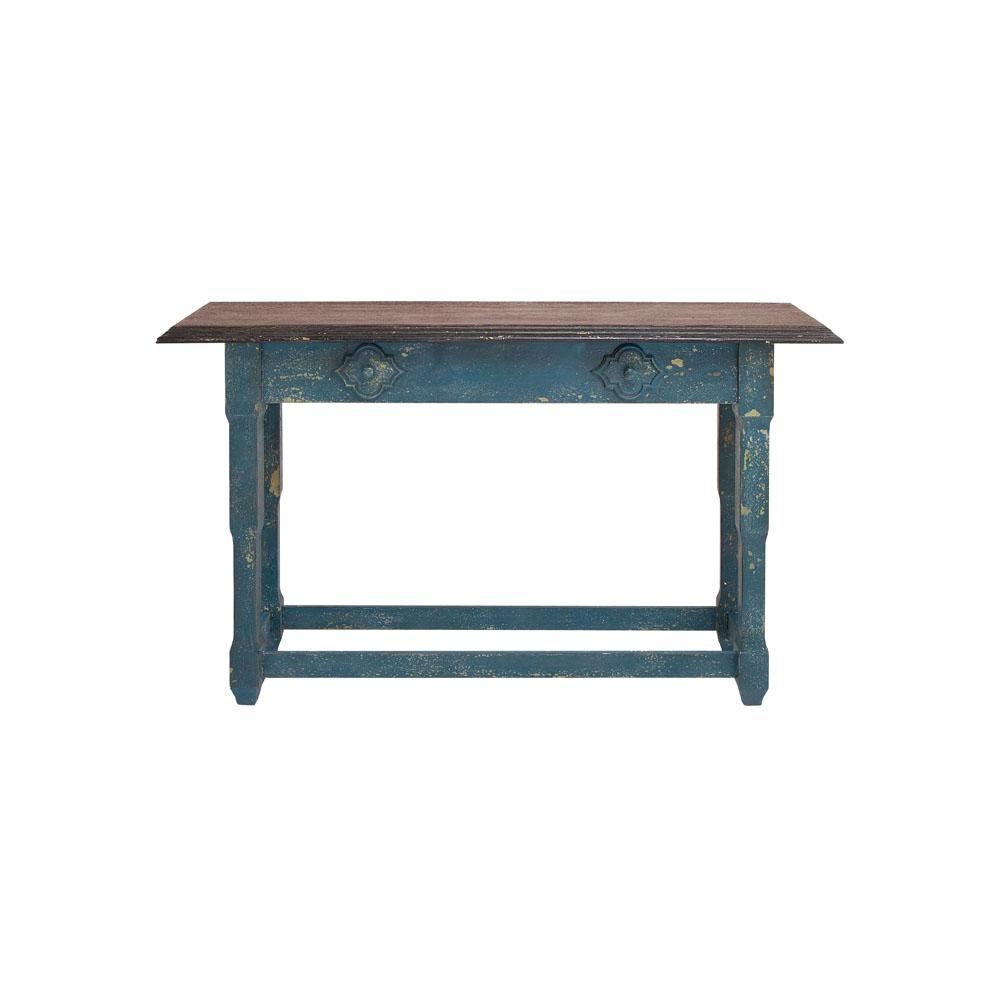 Litton Lane Rectangular Distressed Blue And Brown Wood Console Table