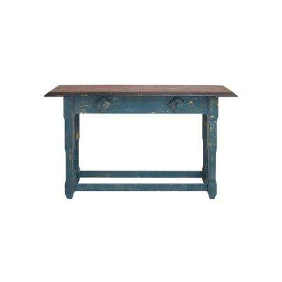 Rectangular Distressed Blue and Brown Wood Console Table