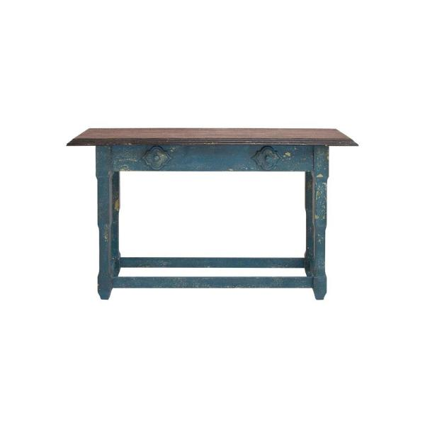 Merveilleux Litton Lane Rectangular Distressed Blue And Brown Wood Console Table