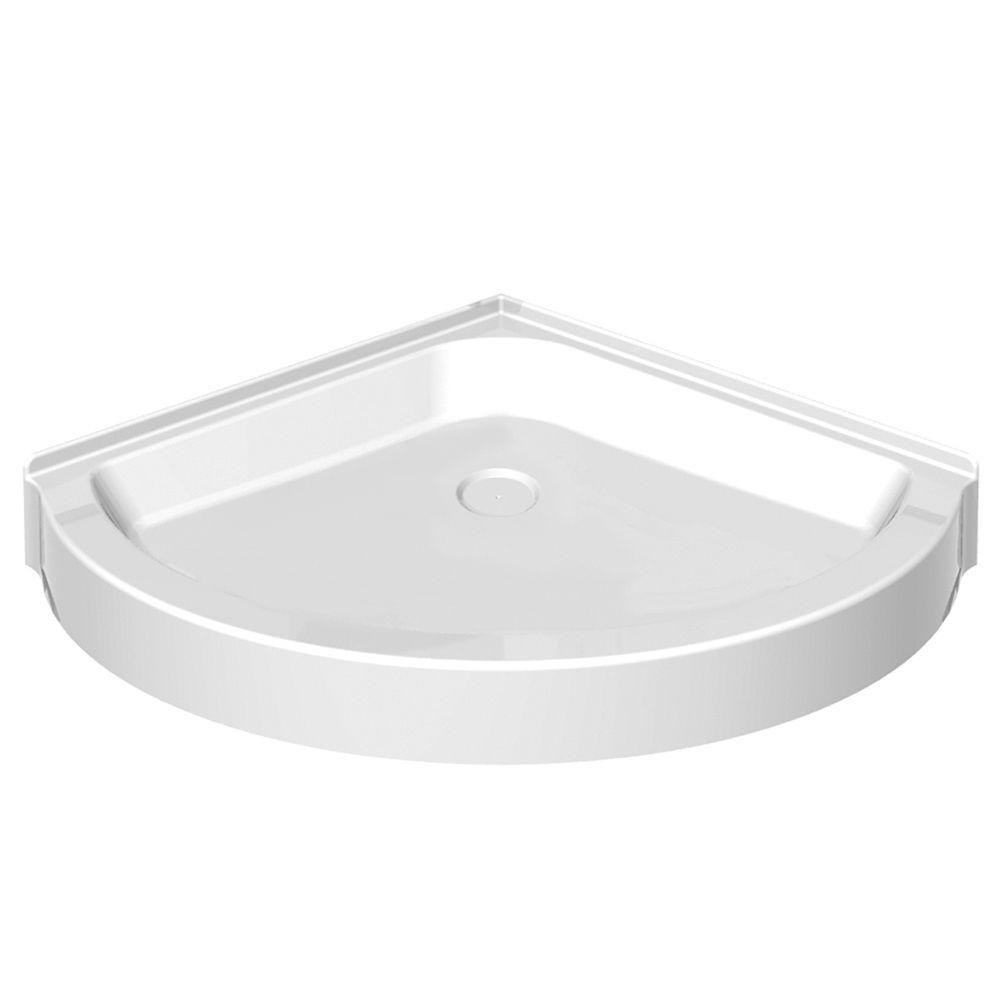 MAAX 36 in. x 36 in. Single Threshold Round Shower Base in White
