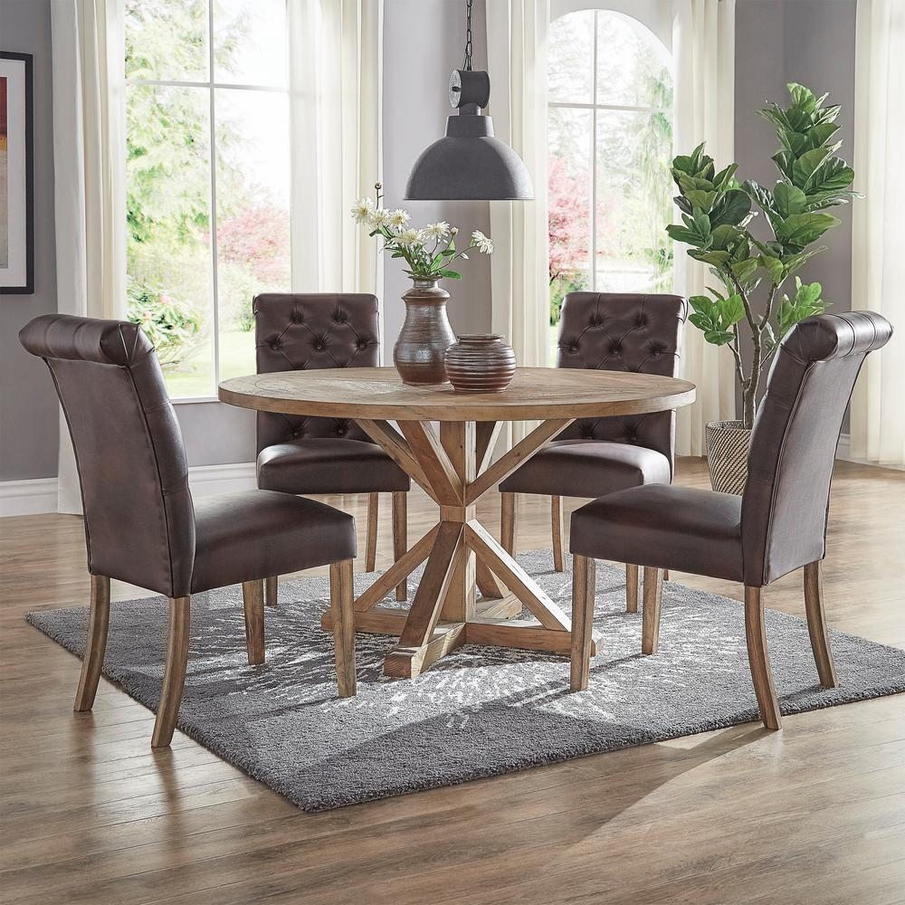 Homesullivan huntington chocolate bonded leather button tufted dining chair set of 2