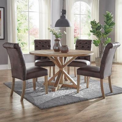 Huntington Chocolate Bonded Leather On Tufted Dining Chair Set Of 2