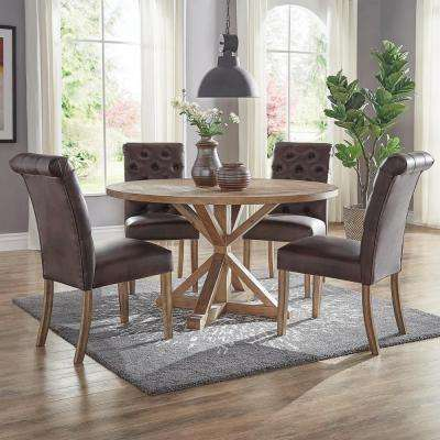 Huntington Chocolate Bonded Leather Button Tufted Dining Chair (Set of 2)