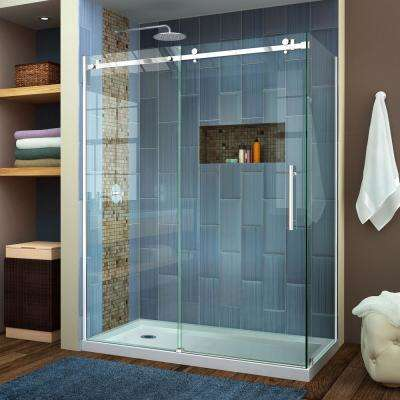 Enigma Air 60-3/8 in. x 76 in. Frameless Corner Sliding Shower Door in Brushed Stainless Steel with Handle