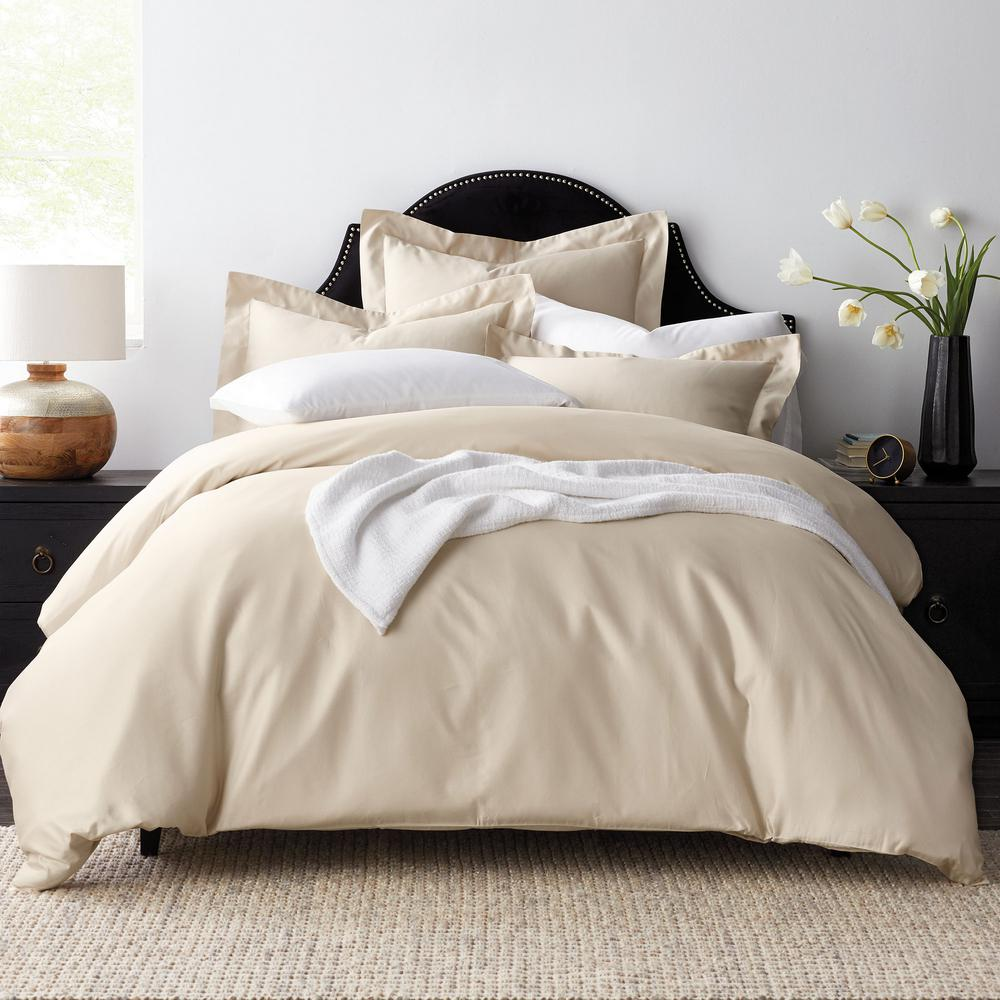 Beau The Company Store Legends Solid Sand 600 Thread Count Egyptian Cotton  Sateen Oversized King Duvet Cover 50385R K SAND   The Home Depot