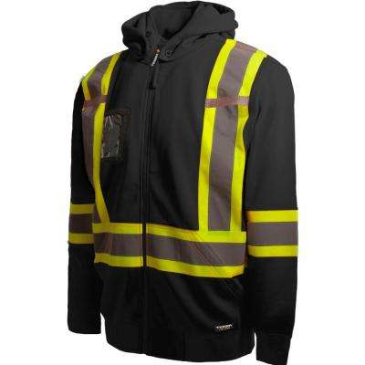 Men's Large Black High-Visibility Detachable Hood Reflective Safety Hoodie