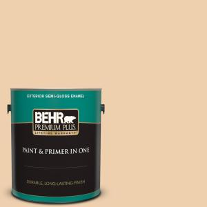 Behr Premium Plus 1 Gal Mq3 43 Ceramic Beige Semi Gloss Enamel Exterior Paint And Primer In One 540001 The Home Depot