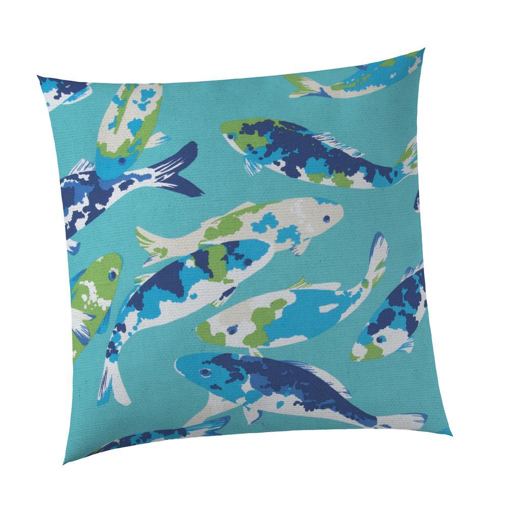 Koi Lagoon Square Outdoor Throw Pillow