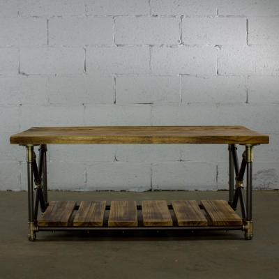 Rustic Bronze Industrial Pipe 46 in. 2-Tier Coffee Table with Reclaimed-Aged Wood