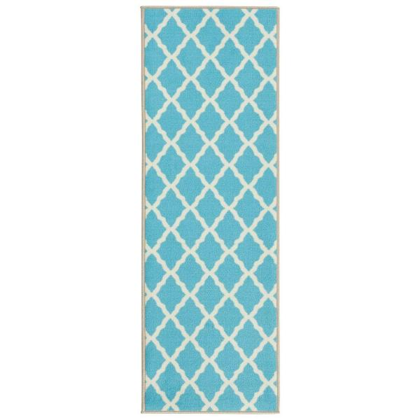 Glamour Collection Contemporary Moroccan Trellis Design Blue 2 ft. x 5 ft. Kids Runner Rug