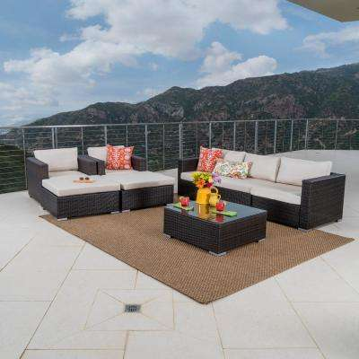 Multi-Brown 8-Piece Wicker Patio Sectional Seating Set with Beige Cushions