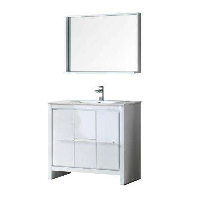 Allier 36 in. Vanity in White with Ceramic Vanity Top in White and Mirror