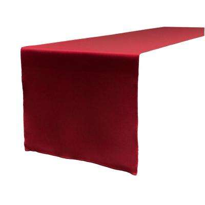 14 in. x 108 in. Cranberry Polyester Poplin Table Runner