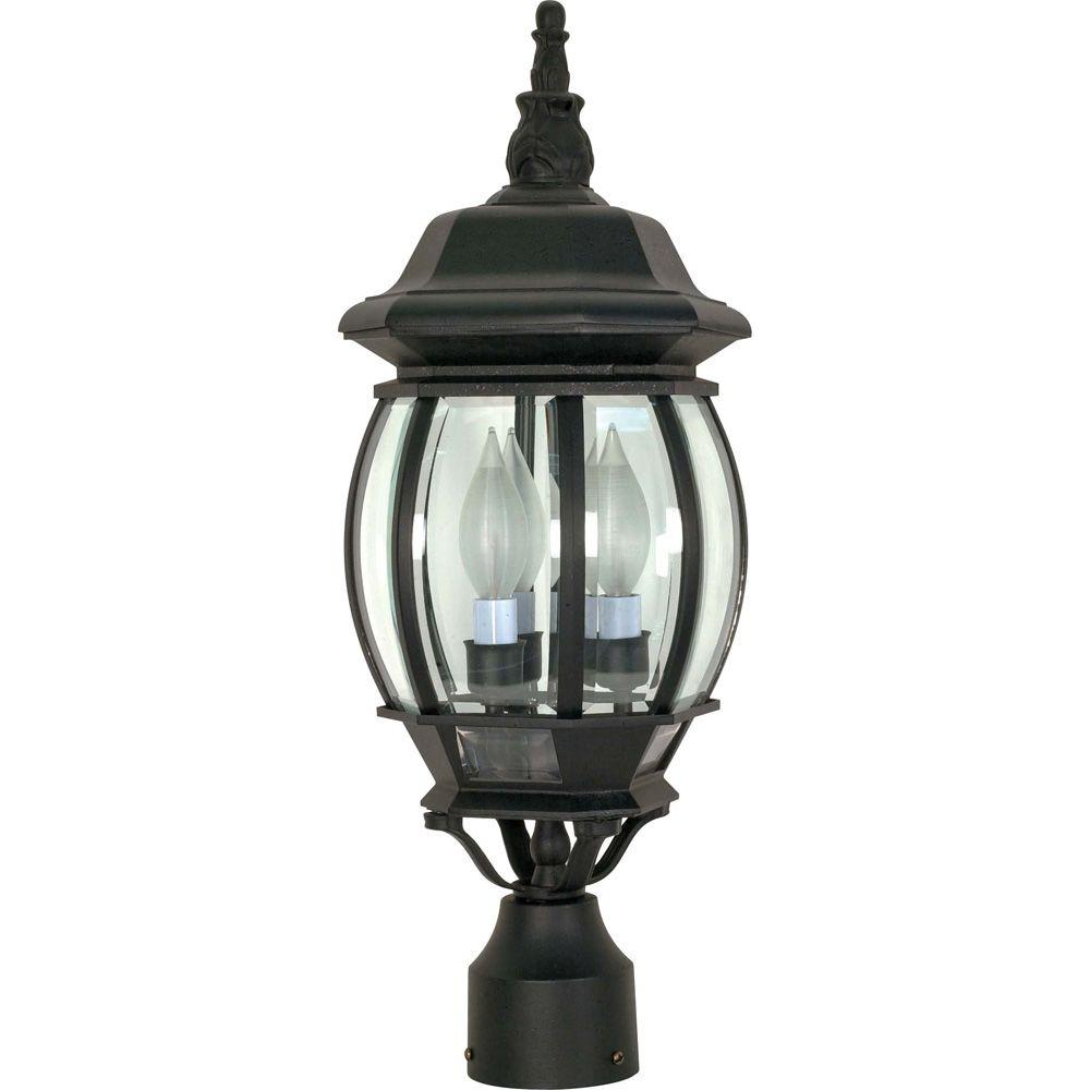 glomar 3 light outdoor textured black post lantern hd 899 the home