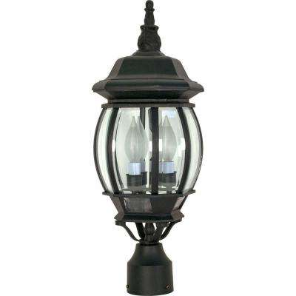 3-Light Outdoor Textured Black Post Lantern