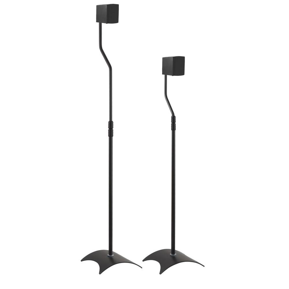 Adjustable Height Speaker Floor Stands, Black (Set of 2)