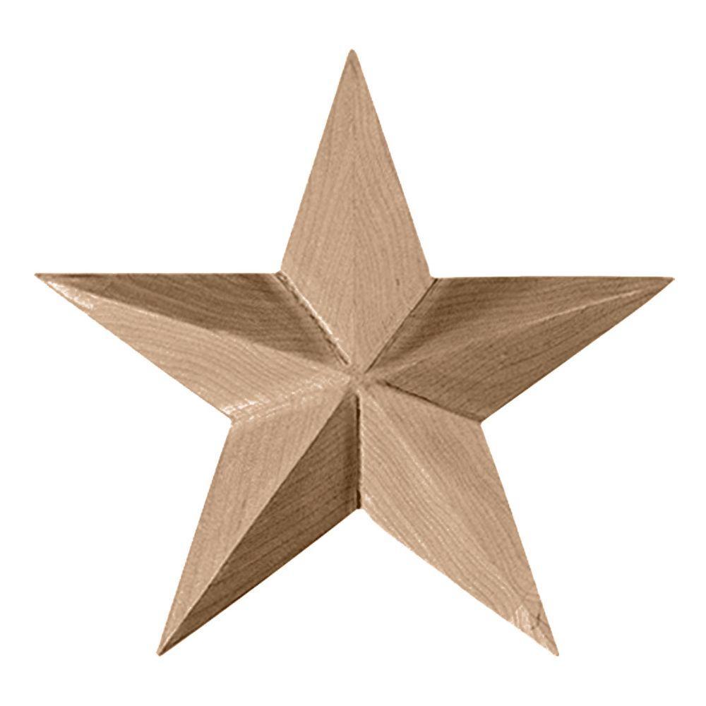 6-1/2 in. x 1 in. x 6-1/2 in. Unfinished Wood Rubberwood Galveston Star Rosette