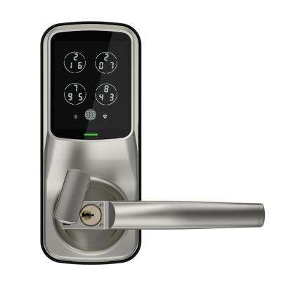 Secure Plus Smart Touchscreen Keypad Door Latch Lock with Fingerprint and Bluetooth, Satin Nickel