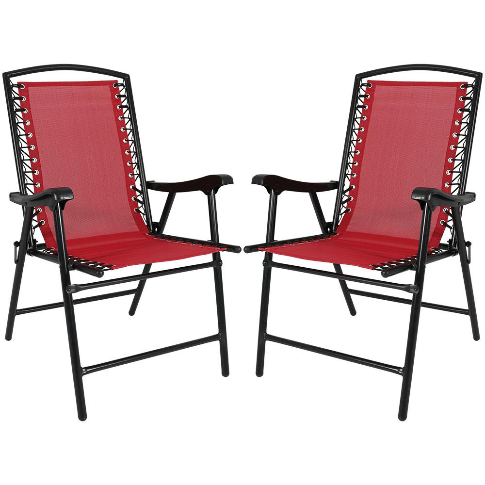 Red Sling Folding Beach Lawn Chairs (Set of 2)