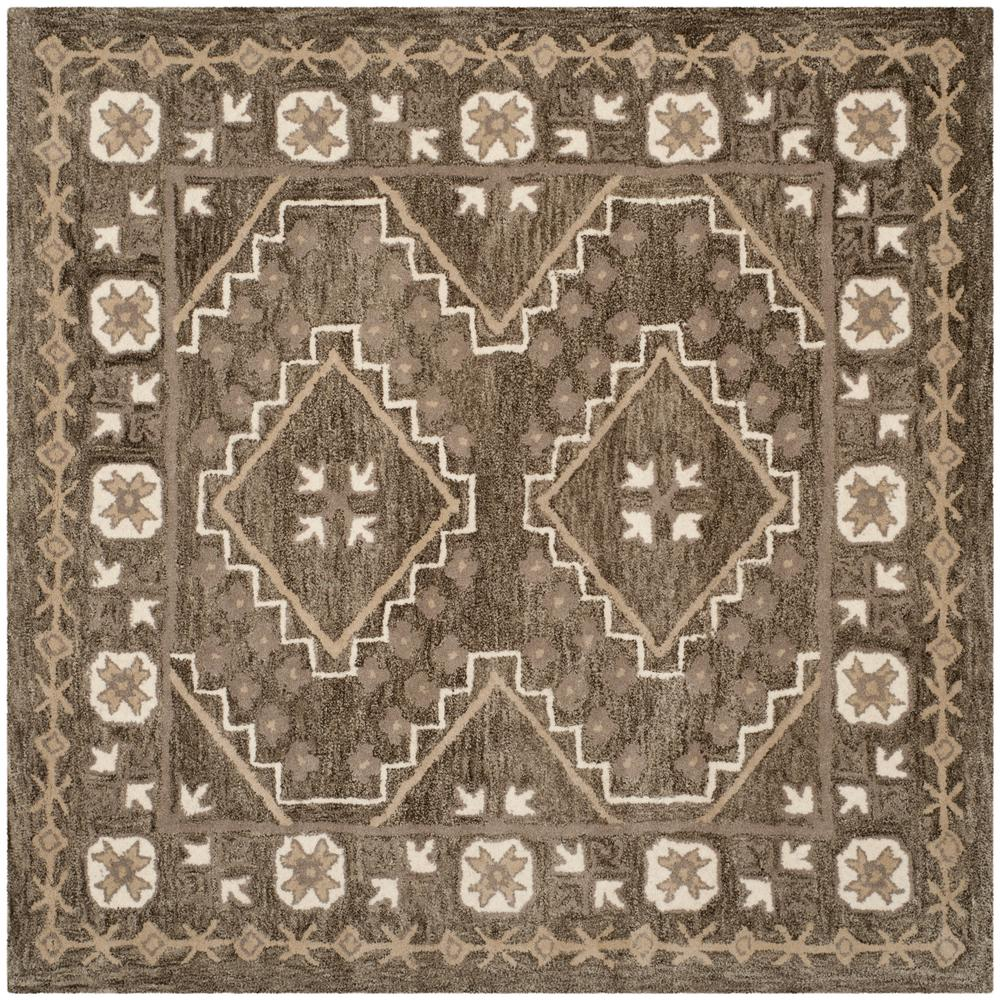Bella Brown/Taupe 5 ft. x 5 ft. Square Area Rug