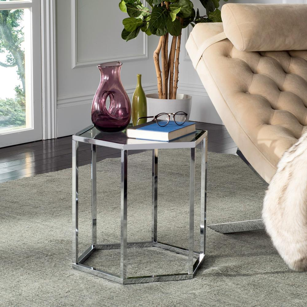 Safavieh Teagan Chrome Glass End Table Mmt6002a The Home Depot