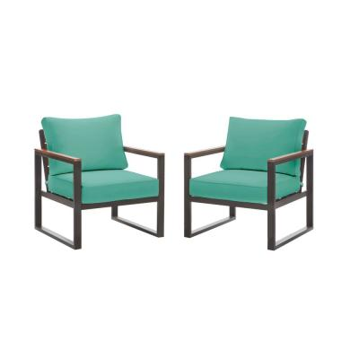 West Park Black Aluminum Outdoor Patio Lounge Chair with CushionGuard Seaglass Turquoise Cushions (2-Pack)