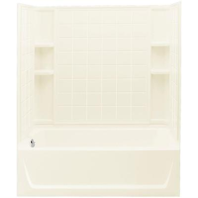 Ensemble 32 in. x 60 in. x 75-1/4 in. Bath and Shower Kit Left Drain in Biscuit with Backer Boards