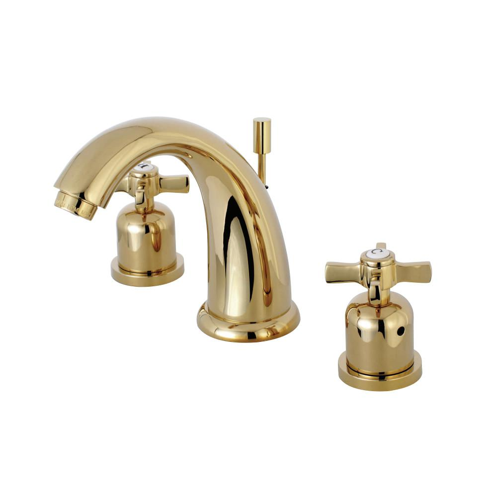 Kingston Brass Kaiser Cross 8 In. Widespread 2-Handle Mid-Arc Bathroom Faucet In Polished Brass
