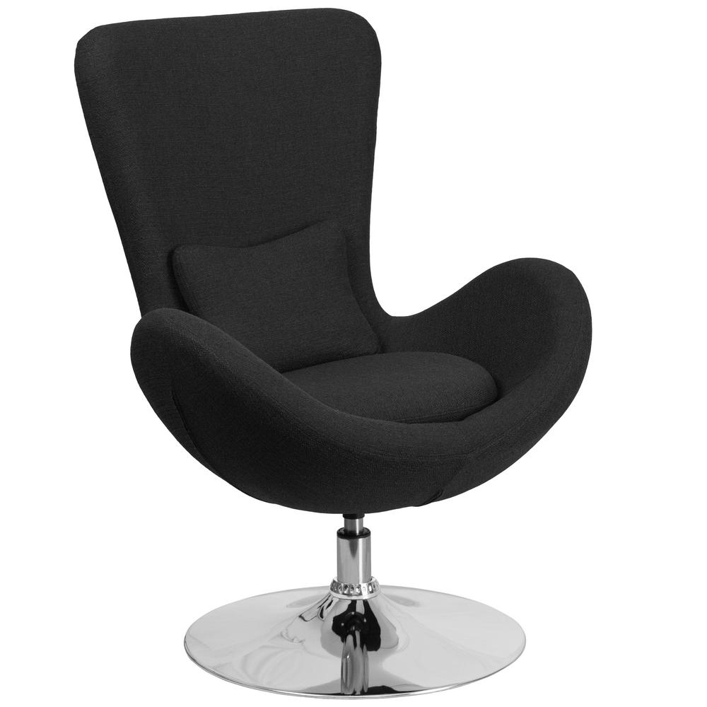 Black Fabric Egg Series Reception-Lounge-Side Chair