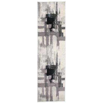 Modern Contemporary Abstract Black 2 ft. x 7 ft. Indoor Runner Rug