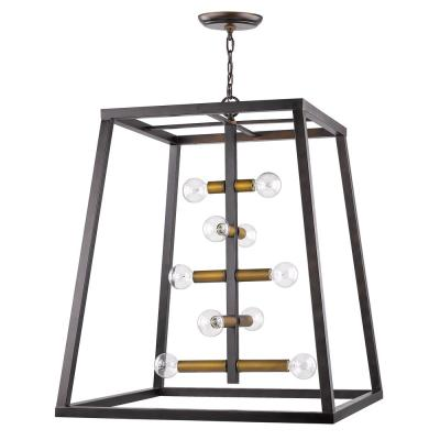 Tiberton 10-Light Oil-Rubbed Bronze Foyer Pendant with Antique Brass Sockets