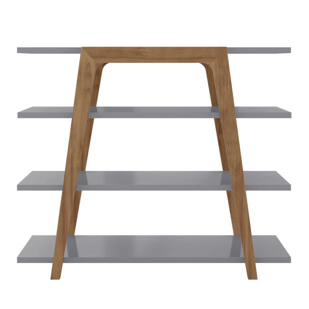 47.24 in. Watkins Grey Geometric Modern 4-Shelf Ladder Bookcase