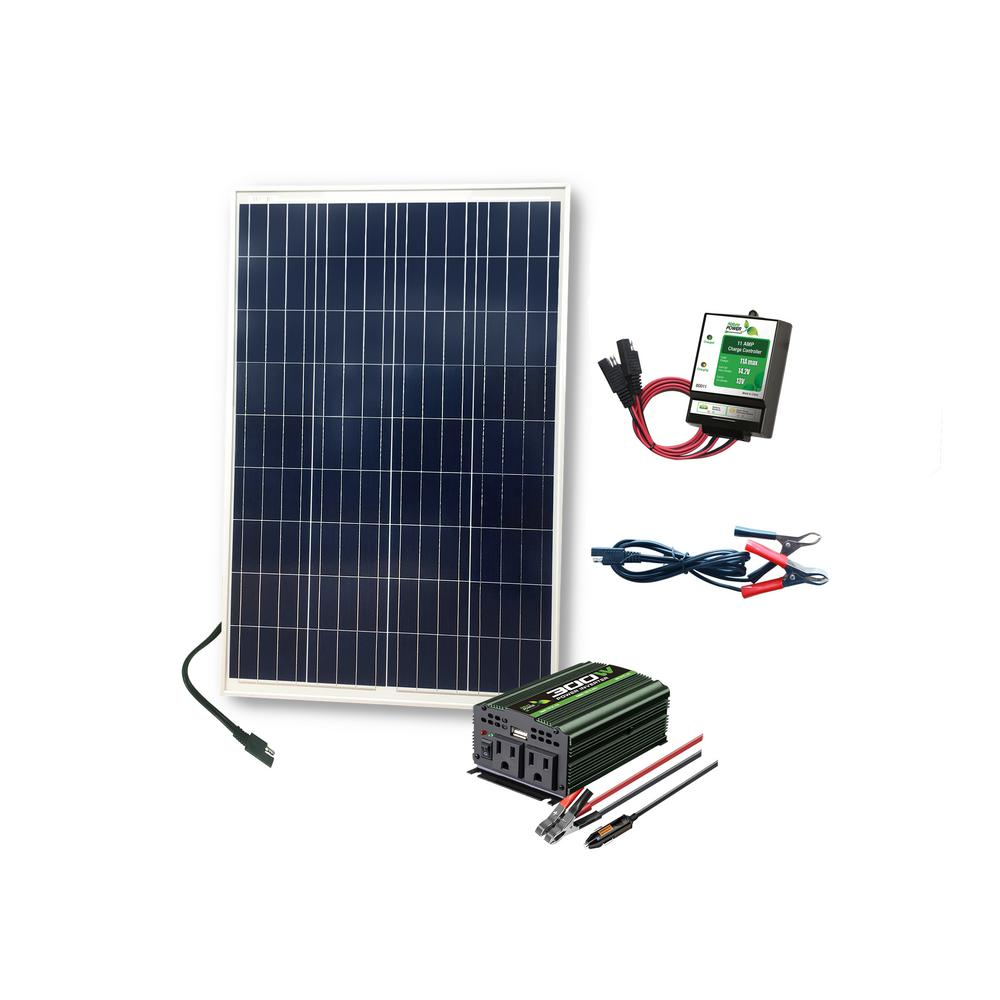 Nature Power 100 Watt Complete Solar Power Kit: 1x100 Watt Solar Panel, 300  Watt Power Inverter, 11 Amp Charge Controller