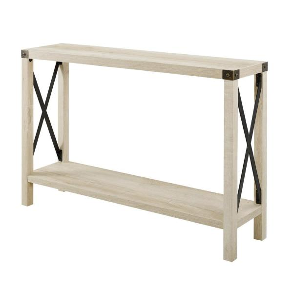 Walker Edison Furniture Company 46 In White Oak Urban Industrial Farmhouse Metal X Entry Table Hdf46mxetwo The Home Depot