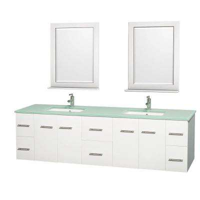 Centra 80 in. Double Vanity in White with Glass Vanity Top in Green, Square Sink and 24 in. Mirror