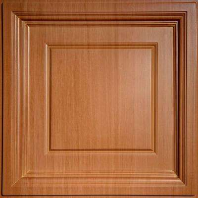 Madison Faux Wood-Caramel 2 ft. x 2 ft. Lay-in Coffered Ceiling Panel (Case of 6)