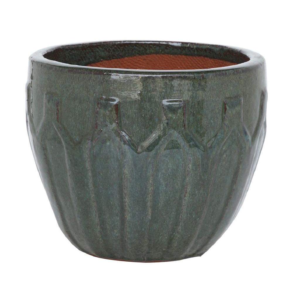 11.5 in. Moss Green Stoneware Sharazad Egg Pot