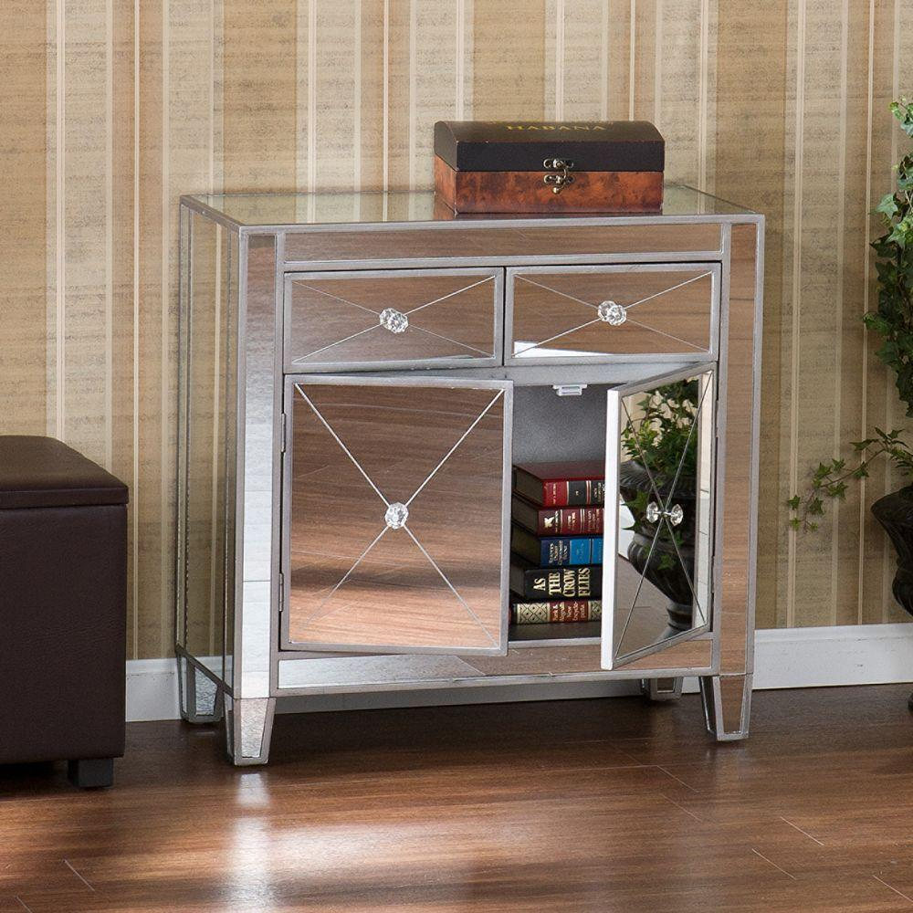 Southern Enterprises Vernon Mirrored Storage Accent Cabinet